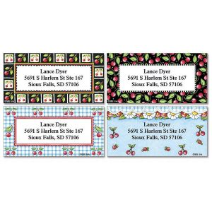 Mary's Cherries Border Address Labels  (4 designs)