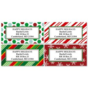 Giftwrap Greetings Border Address Labels   (4 Designs)