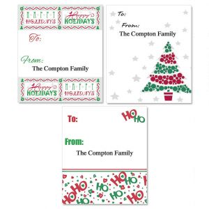 Red & Green Personalized To/From Labels  (3 Designs)