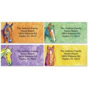 Artistic Horses Border Address Labels  (4 Designs)
