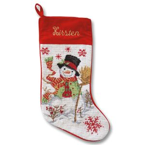 Snowman Heirloom Needlepoint Custom Christmas Stocking