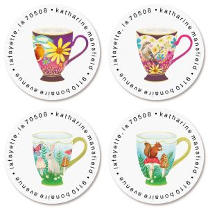 Sweet Tea Cups Round Return Address Labels (4 Designs)