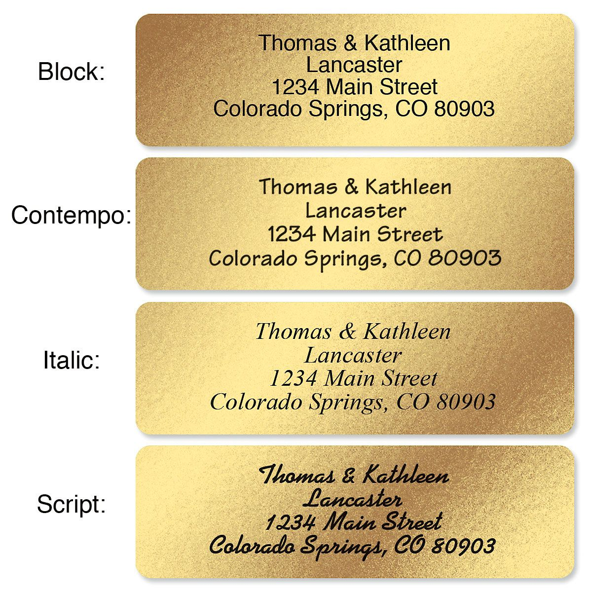Gold Foil with Symbol Standard Return Rolled Address Labels