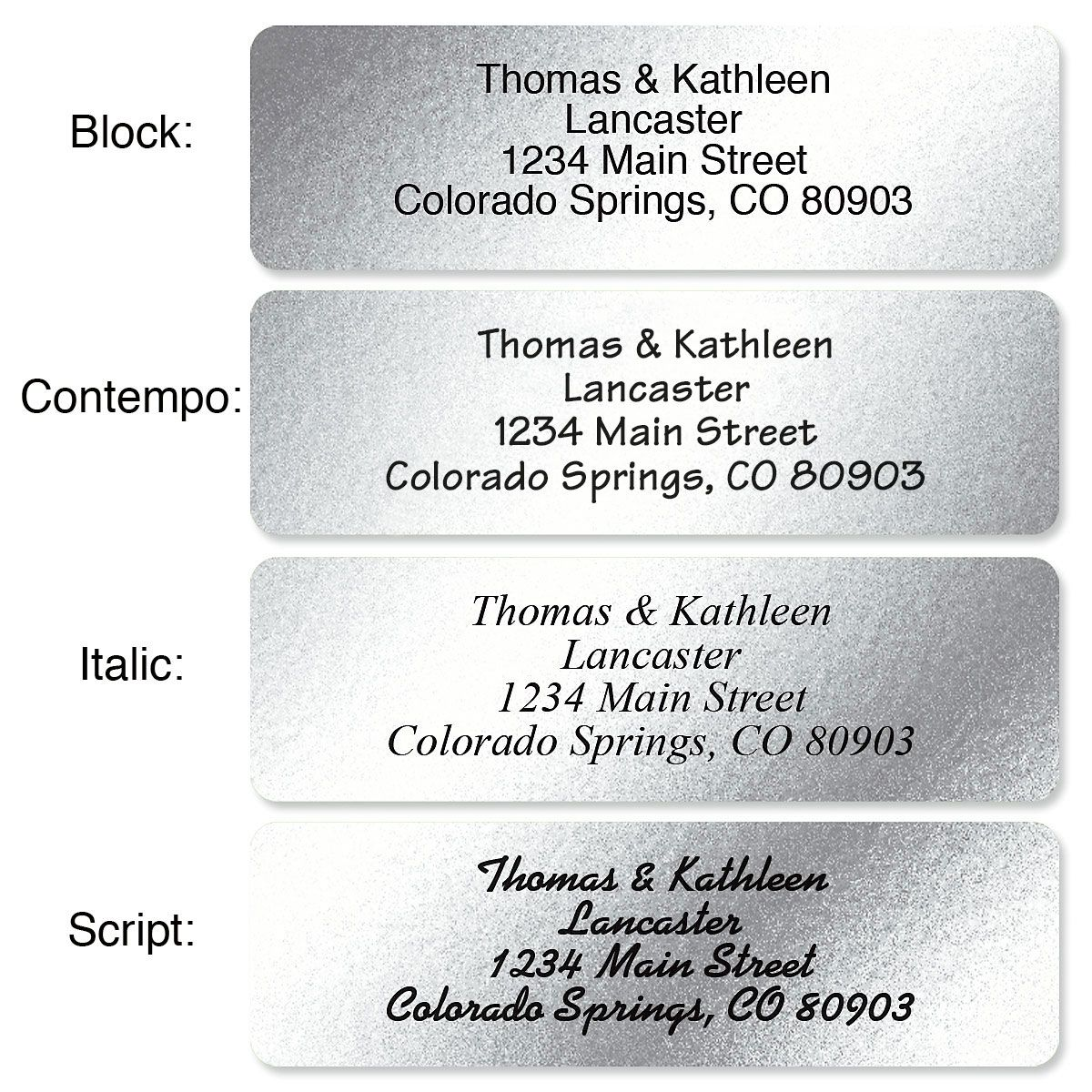Silver Foil with Initial Standard Rolled Address Labels