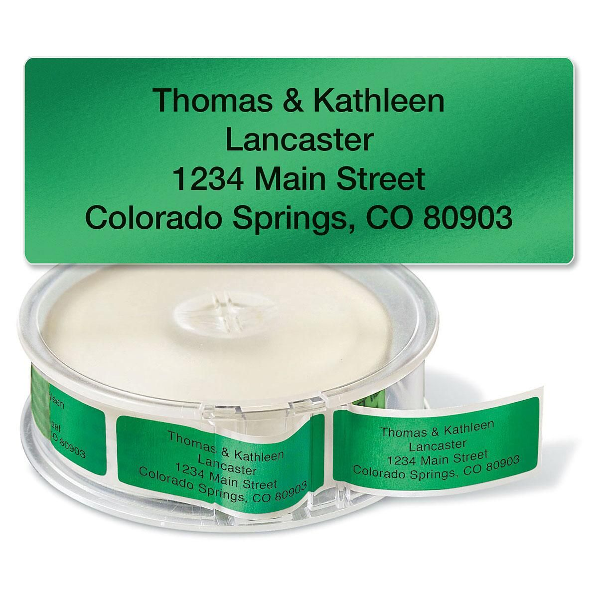 Green Foil Rolled Return Address Labels