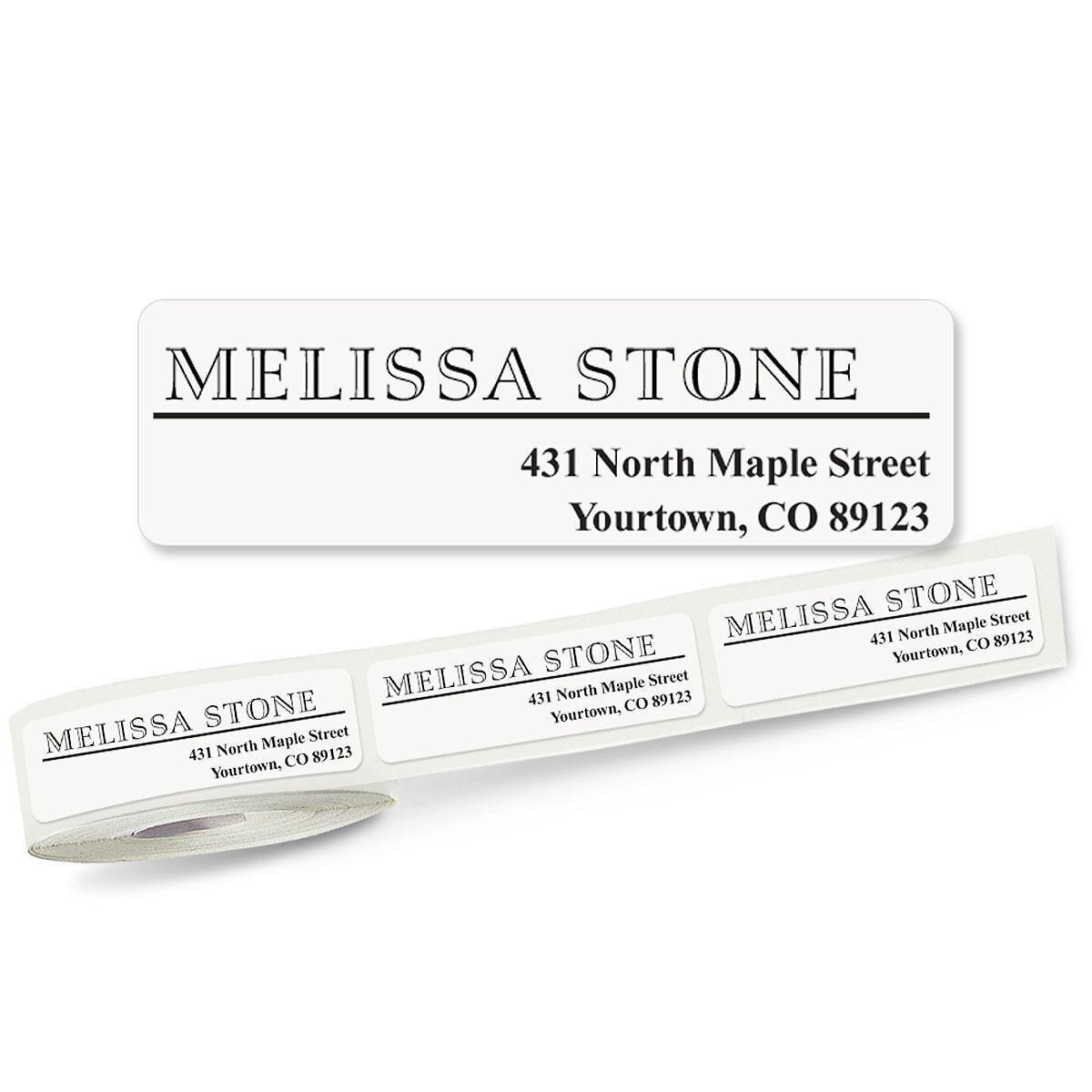 Outline Font Off-Center  Rolled Address Labels