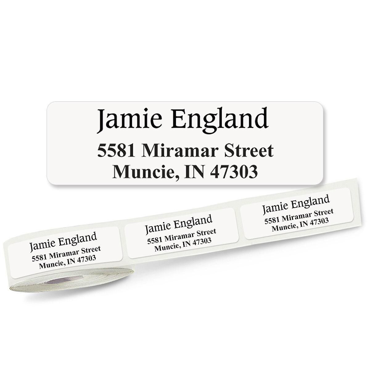 Conventional Font Front & Center, Unlined  Rolled Address Labels - (Roll of 250)