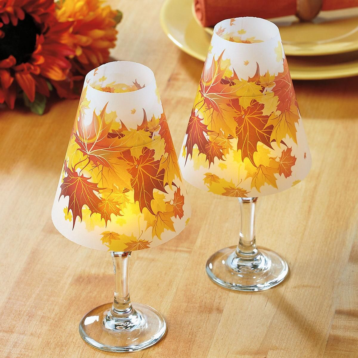 Autumn Leaves Wineglass Shades