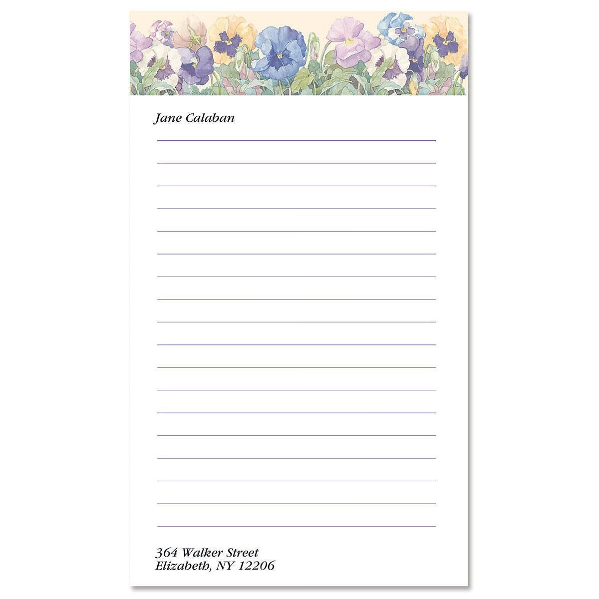 Sandi's Pansies Notepad