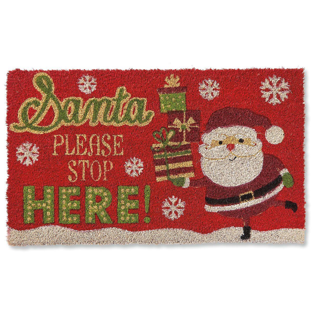 Santa Stop Here Coir Doormat