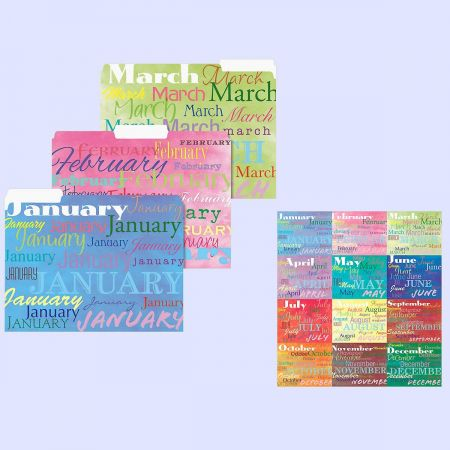 12-Month File Folders  (12 Designs)
