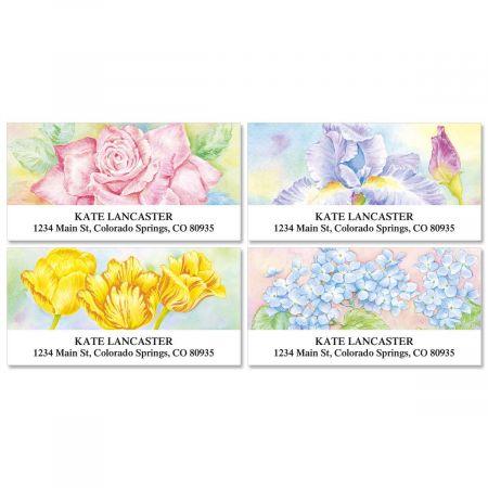 floral fancy deluxe return address labels colorful images