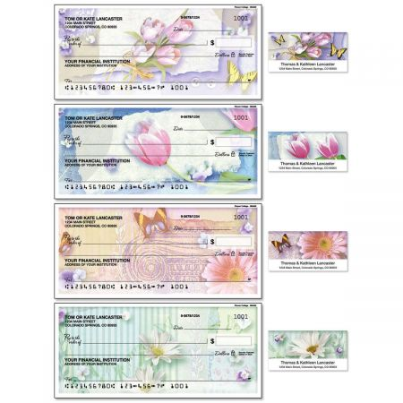 Floral Collage Single Checks with Matching Address Labels