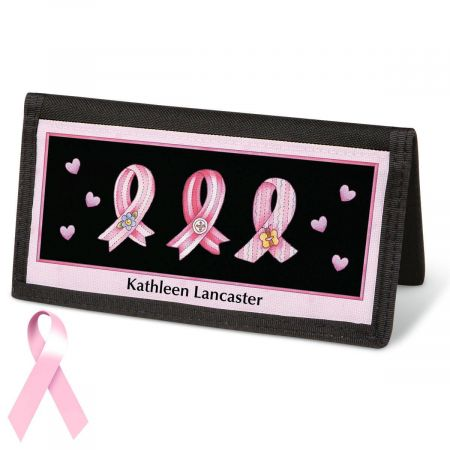 Pink Ribbon  Checkbook Cover - Personalized