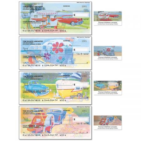 Vintage Trailer Duplicate Checks with Matching Address Labels
