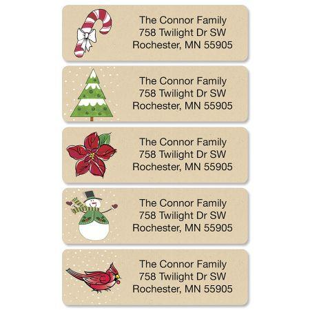 Krafty Christmas Rolled Return Address Labels  (5 Designs)