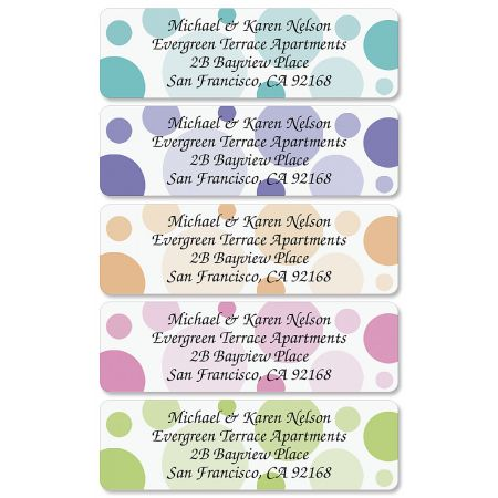 Polka Dots Rolled Return Address Labels  (5 Designs)