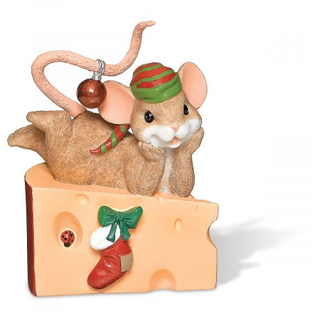 Christmas Mouse on Cheese Figurine by Charming Tails®