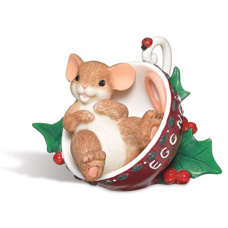 Mouse in Eggnog Cup Figurine by Charming Tales®
