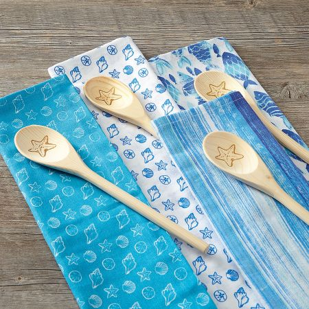 Coastal Dish Towel and Wooden Spoon