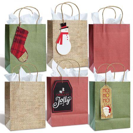 Kraft Burlap Gift Bag & Tag Set
