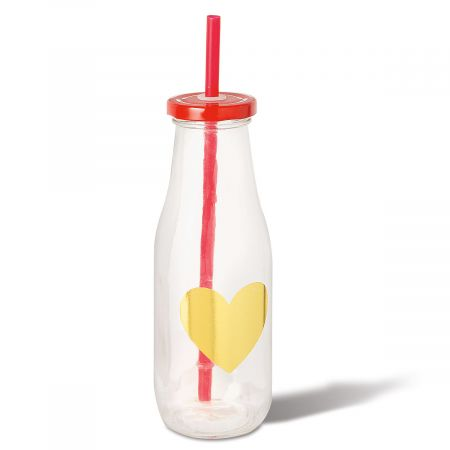 Milk Bottle with Gold Heart