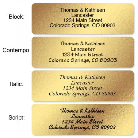 Gold Foil with Initial Standard Rolled Address Labels