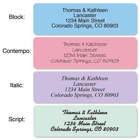 Rainbow Standard Rolled Address Labels  (5 Colors)