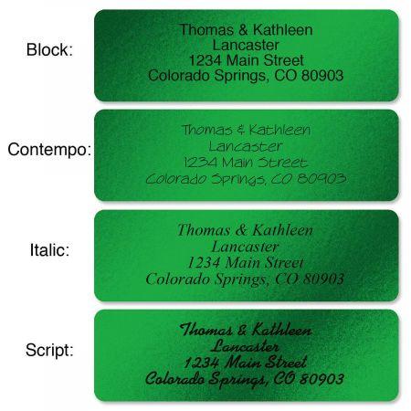 Green Foil Rolled Address Labels