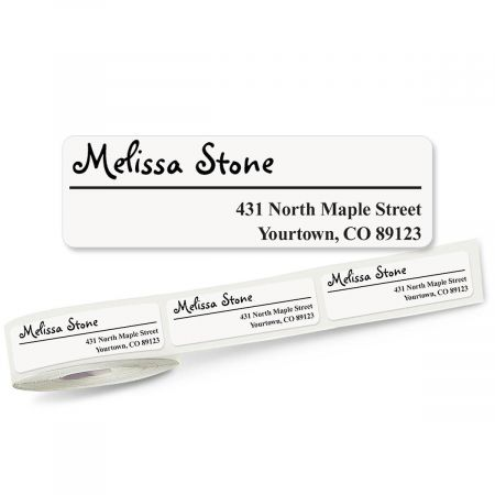 Whimsical Font Off-Center  Rolled Address Labels