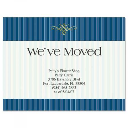 Navy Pinstripe We've Moved Postcards