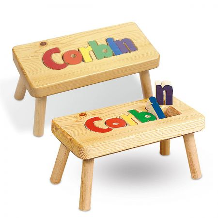 Primary Name Wooden Puzzle Footstool