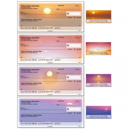 Sunset Splendor Single Checks With Matching Address Labels