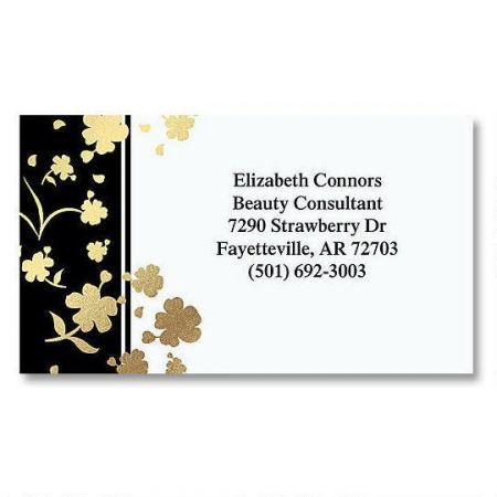 Gold Floral Elegance Foil Business Cards