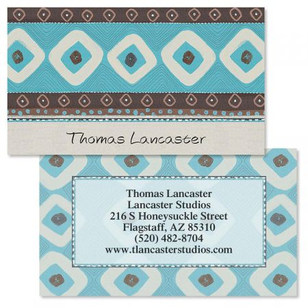 Brown & Turquoise Double-Sided  Business Cards