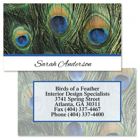 Peacock Feathers Double-Sided  Business Cards