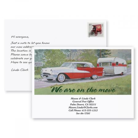 Travel Trailer New Address Postcards