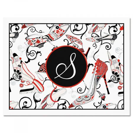 Graceful Shoes Initial Custom Note Cards