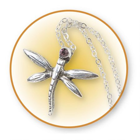 Dragonfly Birthstone  Pendant & Chain