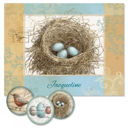 Blue Nest  Personalized Note Cards