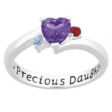 Sterling Silver  My Precious Daughter Birthstone Ring