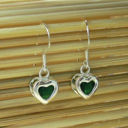 Sterling Silver Birthstone Heart Earrings