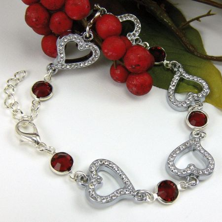Birthstone Crystal Heart Bracelet