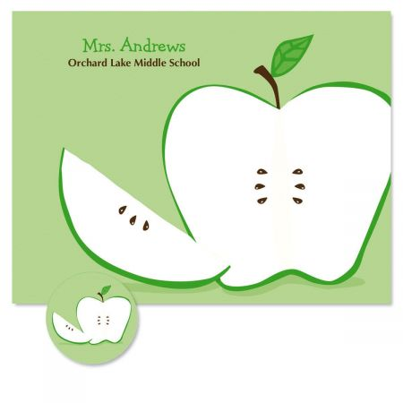 Green Apple  Personalized Note Cards