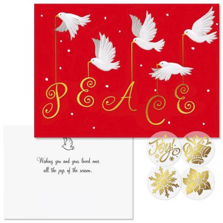 Peace Foil Christmas Cards  -  Nonpersonalized