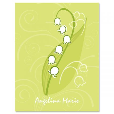 Lily of the Valley  Personalized Note Cards