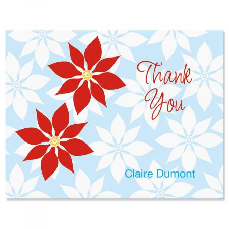 Poinsettia  Personalized Thank You Cards
