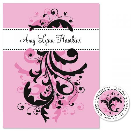 Pink & Black Swirl  Personalized  Note Cards