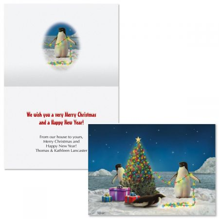 Festive Penguins  Note Card Size  Christmas Cards