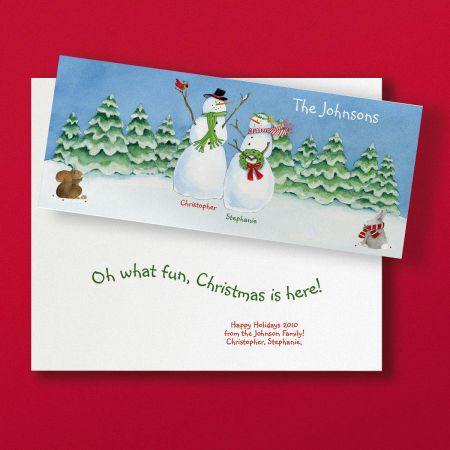 Our Fun Snow Family Slimline Holiday Cards